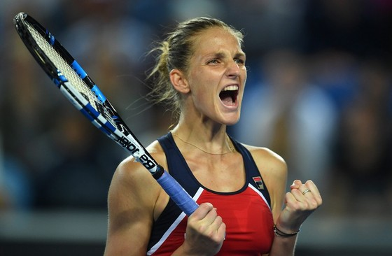 Ontlading bij Karolina Pliskova na haar nipte zege. © EPA