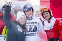 Lindsey Vonn na haar zege in Garmisch-Partenkirchen. © EPA